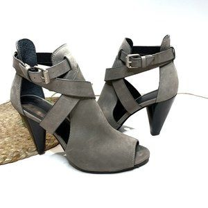 All Saints Strappy Peep Toe Heels Taupe Size 7.5